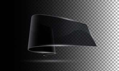 realistic 3d transparent ribbon black glass texture banner
