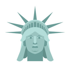 Head of Statue of Liberty. Face sculpture America. Monument in U