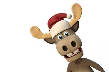 Cute moose with christmas hat cartoon animal zoo forest