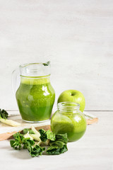 Green vegetable smoothie in jars. Template for detox recipe