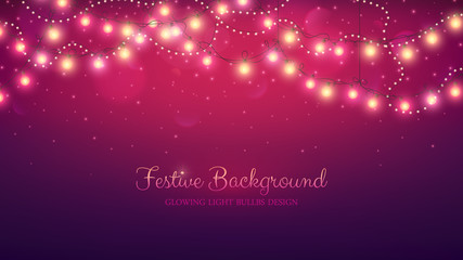 Glowing light bulbs design. Abstract background. Vector illustration. Christmas site header.