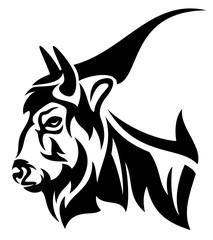 bison profile head black and white vector design