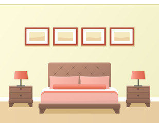 Hotel room interior in flat style. Modern bedroom design. Vector.