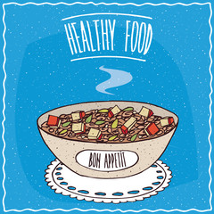 Bowl of oatmeal with slices of apple and seeds, similar to muesli or granola, lie on lacy napkin. Blue background and lettering Healthy food. Handmade cartoon style