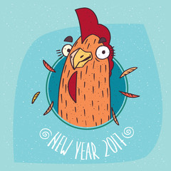 Close-up of cartoon playful cock or rooster smiles in round frame on blue background. New Year 2017 lettering