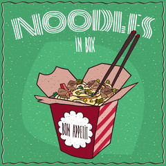 Chinese traditional dish of wheat noodles with vegetables and chicken, known as Ramen or Udon, in red cardboard box with chopsticks. Hand drawn. Green background