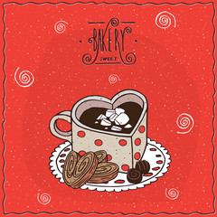 Cute cup of coffee in the shape of heart and chocolate candies and cookies, lie on lacy napkin. Red background and ornate lettering bakery. Handmade cartoon style