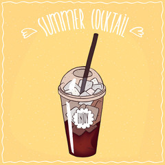 Drink such as cola with ice in transparent plastic cup with straw, on which the inscription Enjoy. Ornate lettering Summer cocktail. Handmade cartoon style