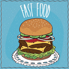 Double cheeseburger with cucumber, onion, tomato, cheese, steak and lettuce, lie on a lacy napkin. Blue background and lettering Fast food. Handmade cartoon style