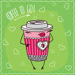 Cute anthropomorphic character paper cup of coffee with elegant coloration looks like a girl stands and smiles. Coffee to go concept