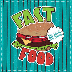 Conspicuous bright colorful food poster with delicious cheeseburger or hamburger in cartoon style, on cyan striped background. Lettering Fast Food and Bon Appetit