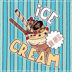 Conspicuous bright colorful food poster with delicious icecream waffle cone in cartoon style, on blue striped background. Lettering Ice Cream and Bon Appetit