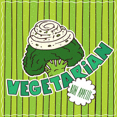 Conspicuous bright colorful food poster with funny broccoli or cauliflower in cartoon style, on green striped background. Lettering Vegetarian and Bon Appetit