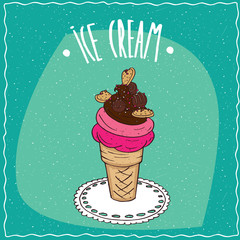 Great waffle cone with fruit and chocolate ice cream, cookies and colored sprinkles, is on the lacy napkin. Cyan background. Handmade cartoon style
