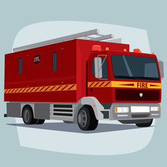 Isolated, detailed images of three-dimensional firefighting apparatus, fire engine car, the main device of firefighters, in cartoon style. Side front view