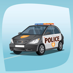 Isolated, detailed three-dimensional image of patrol car, vehicle with emergency lights system, the main device of police officers, in cartoon style. Side front view