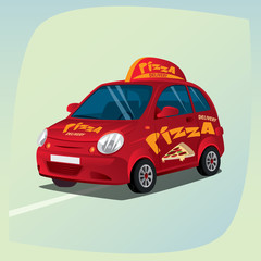 Isolated, detailed three-dimensional image of pizza delivery car, vehicle with distinctive signs, the main device of couriers, in cartoon style. Side front view