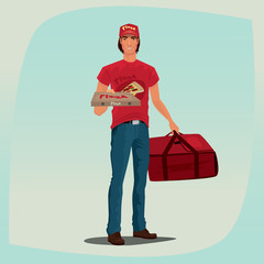 Young man standing in red branded clothes with logo and inscription. In one hand holding pizza box, in other holding courier bag. Food delivery concept