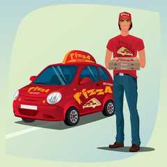 Young man standing in casual clothes and holding out pizza boxes. In background, red branded delivery car with logo and inscription. Food delivery concept