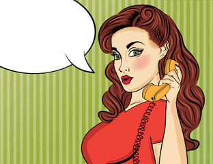 Pop art woman with retro phone