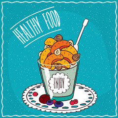 Natural yogurt with dried apricots and nuts in a glass, lie on lacy napkin. Blue background and lettering Healthy food. Handmade cartoon style
