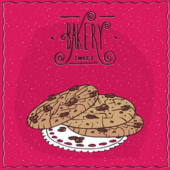 Nut cookies with chocolate chips, lie on lacy napkin. Magenta background and ornate lettering bakery. Handmade cartoon style