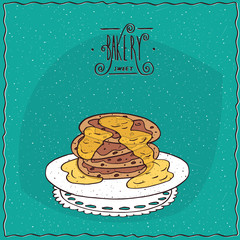 Stack of pancakes with honey, lie on lacy napkin. Cyan background and ornate lettering bakery. Handmade cartoon style
