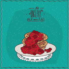 Stack of pancakes with red berries, cherry or currant, lie on lacy napkin. Cyan background and ornate lettering bakery. Handmade cartoon style