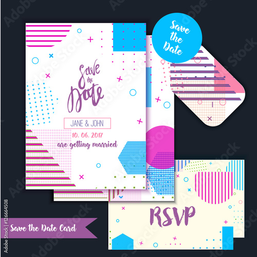 geometry save the date card in modern 1980s with menu rsvp card
