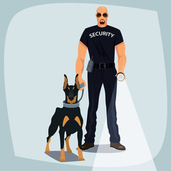 Security officer, bald man of strong physique in black uniform of patrol services, one hand shines flashlight, the other hand holding leash guard dog, like Doberman