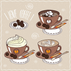 Set of cups of coffee, with marshmallow, whipped cream, pattern of milk foam, on saucer with spoon, sugar stick and chocolate candies. Handmade cartoon style