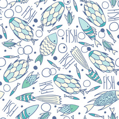 Seamless pattern with small different fishes in a chaotic manner on soft white background. Handmade cartoon style
