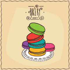 Stack of multi-colored French cookies, known as the macaron, lie on lacy napkin. Beige background and ornate lettering bakery. Handmade cartoon style