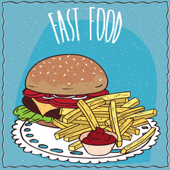 Classic steak burger with tomato, cheese, steak and lettuce and french fries or finger chips with red liquid flavoring, similar to salsa sauce or ketchup