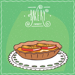 Tartlet with orange or lemon slices, lie on lacy napkin. Green background and ornate lettering bakery. Handmade cartoon style