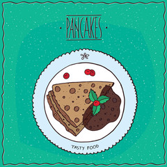 Beautiful pancakes with chocolate, lie on the plate. Top view. Cyan background. Handmade cartoon style