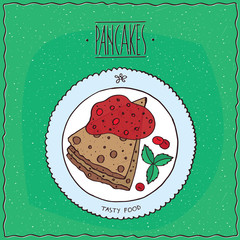 Beautiful pancakes with red berries, cherry or currant, lie on the plate. Top view. Green background. Handmade cartoon style