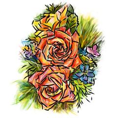 Rose : colors-pencil sketchbook