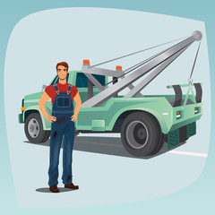 Young man in dirty overalls standing and smiling. In the background pickup wagon. Profession concept of auto mechanic or tow truck operator. Cartoon style