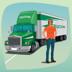Young unshaved truck driver in full body. In the background cargo transport vehicle, box truck or lorry, with streamlined cab. Concept trucking or shipping