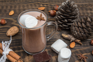 Hot chocolate with marshmallow on dark wooden background