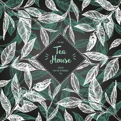 Concept tea vector illustration. Tea leaves frame illustration. Menu label with tea leaves. Linear graphic.