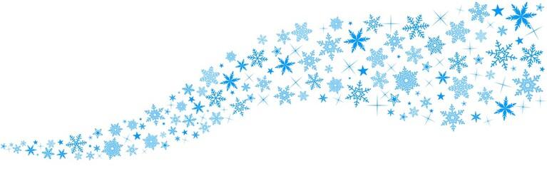 Bannière Neige. Bleu fond blanc