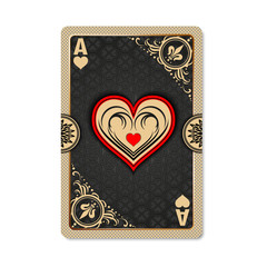 Ace of hearts. Playing card vintage style. Casino and Poker. Ace of hearts as a screen saver application, and wallpaper. Vintage deck of cards.