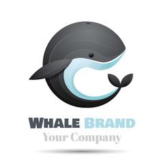Colorful Vector 3d Volume Logo Design whale icon symbol template. . Corporate identity.