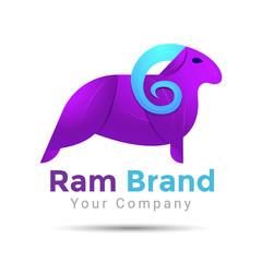 Ram Silhouette. Colorful Vector 3d Volume Logo Design Corporate identity