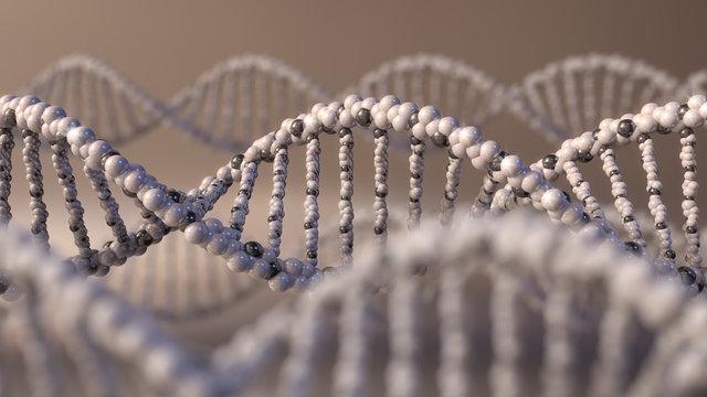 Multiple DNA molecules. Genetic disease, modern science or molecular diagnostics concepts. 3D rendering