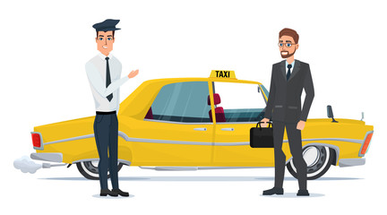 taxi driver invites business people businessman go to car. Vector Illustration isolated on white background in flat style
