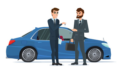 A Car sale handed to other man. A Contemporary style with pastel palette. Vector illustration isolated on white background in flat style.