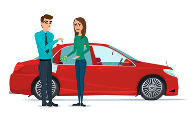 Car Showroom. Manager sells and woman buying a new car. Vector illustration isolated on white background in flat style.